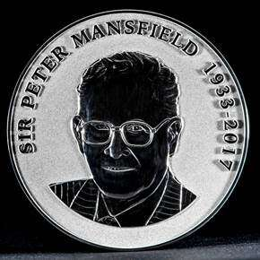 Peter Mansfield portrait on silver medal.